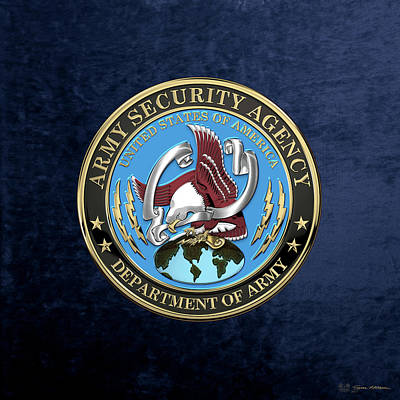 Digital Art - U. S. Army Security Agency - A S A Emblem Over Blue Velvet by Serge Averbukh