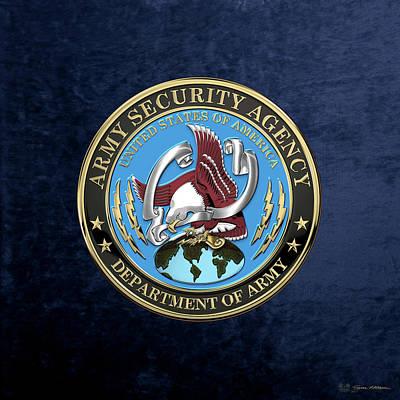 Digital Art - U. S. Army Security Agency - A S A Emblem Over Blue Velvet by Serge Averbukh