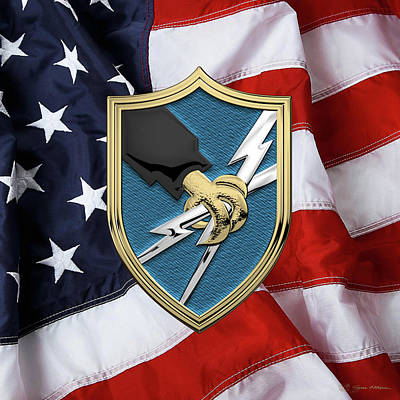 Digital Art - U. S. Army Security Agency - A S A Patch Over American Flag by Serge Averbukh