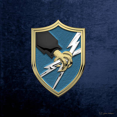 Digital Art - U. S. Army Security Agency - A S A Patch Over Blue Velvet by Serge Averbukh