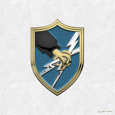 Digital Art - U. S. Army Security Agency - A S A Patch Over White Leather by Serge Averbukh