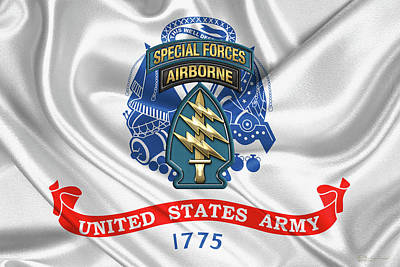 U. S.  Army Special Forces  -  Green Berets S S I Over Army Flag Art Print by Serge Averbukh