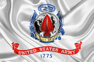 Digital Art - U. S.  Army Special Operations Command  -  U S A S O C    D U I Over U. S.  Army Flag by Serge Averbukh