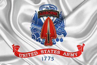 Digital Art - U. S.  Army Special Operations Command -  U S A S O C   C S I B Over U. S.  Army Flag by Serge Averbukh
