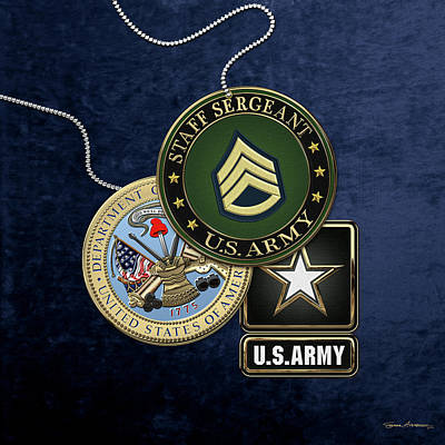 U. S. Army Staff Sergeant   -  S S G  Rank Insignia With Army Seal And Logo Over Blue Velvet Art Print by Serge Averbukh