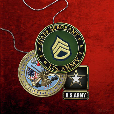 Digital Art - U. S. Army Staff Sergeant   -  S S G  Rank Insignia With Army Seal And Logo Over Red Velvet by Serge Averbukh