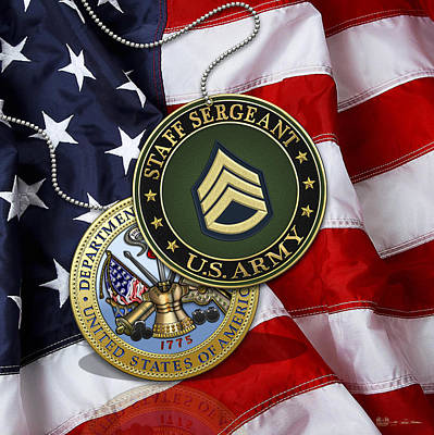 Digital Art - U. S. Army Staff Sergeant Rank Insignia And Army Seal Over American Flag by Serge Averbukh