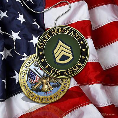Digital Art - U. S. Army Staff Sergeant Rank Insignia And Army Seal Over American Flag by Serge Averbukh