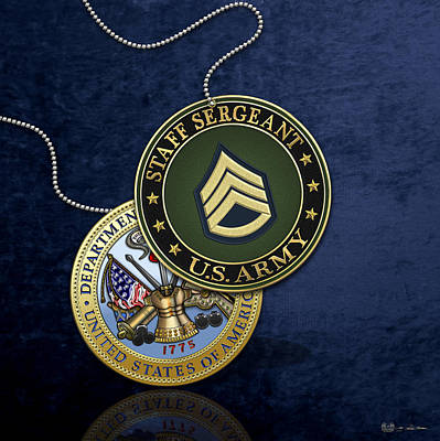 Digital Art - U. S. Army Staff Sergeant Rank Insignia And Army Seal Over Blue Velvet by Serge Averbukh