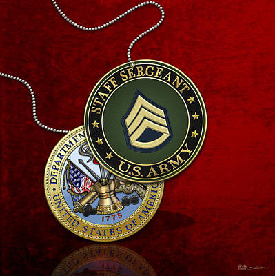 Digital Art - U. S. Army Staff Sergeant Rank Insignia And Army Seal Over Red Velvet by Serge Averbukh