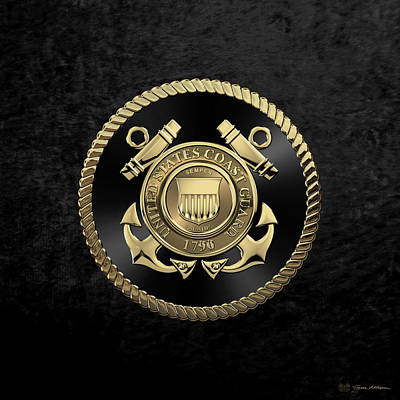 Digital Art - U. S.  Coast Guard  -  U S C G Emblem Black Edition Over Black Velvet by Serge Averbukh