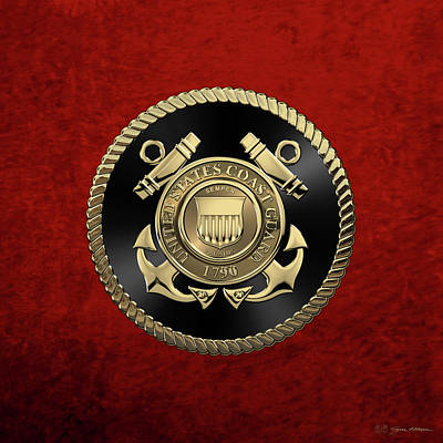 Digital Art - U. S.  Coast Guard  -  U S C G Emblem Black Edition Over Red Velvet by Serge Averbukh
