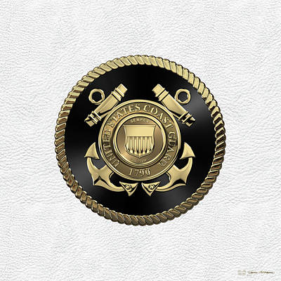 Digital Art - U. S.  Coast Guard  -  U S C G Emblem Black Edition Over White Leather by Serge Averbukh