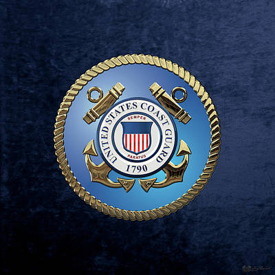 Digital Art - U. S.  Coast Guard  -  U S C G Emblem Over Blue Velvet by Serge Averbukh