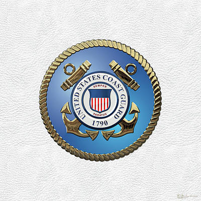 Digital Art - U. S.  Coast Guard  -  U S C G Emblem Over White Leather by Serge Averbukh