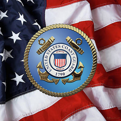 Digital Art - U. S. Coast Guard - U S C G Emblem Over American Flag by Serge Averbukh