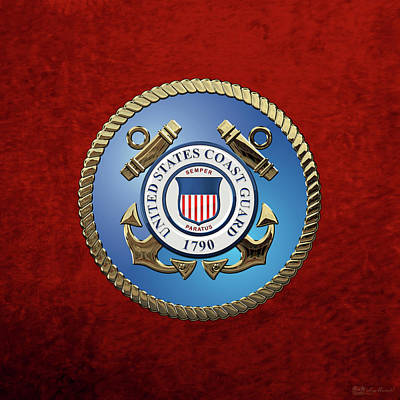 U. S. Coast Guard - U S C G Emblem Art Print by Serge Averbukh