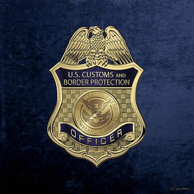 Digital Art - U. S.  Customs And Border Protection -  C B P  Officer Badge Over Blue Velvet by Serge Averbukh