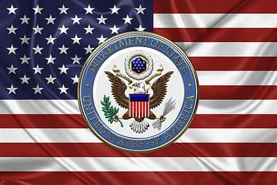 Digital Art - U. S. Department Of State - Emblem Over American Flag by Serge Averbukh