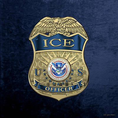 Digital Art - U. S. Immigration And Customs Enforcement  -  I C E  Officer Badge Over Blue Velvet by Serge Averbukh