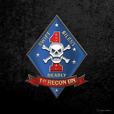 U S M C  1st Reconnaissance Battalion -  1st Recon Bn Insignia Over Black Velvet Original