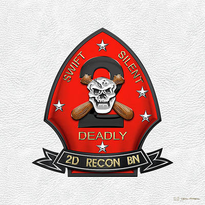 U S M C  2nd Reconnaissance Battalion -  2nd Recon Bn Insignia Over White Leather Art Print