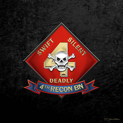U S M C  4th Reconnaissance Battalion -  4th Recon Bn Insignia Over Black Velvet Original