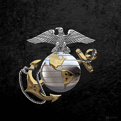 Digital Art - U S M C Eagle Globe And Anchor - C O And Warrant Officer E G A Over Black Velvet by Serge Averbukh