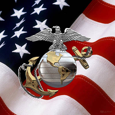 U S M C Eagle Globe And Anchor - C O And Warrant Officer E G A Over U. S. Flag Original by Serge Averbukh
