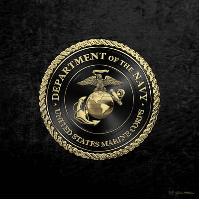 Digital Art - U S M C Emblem Black Edition Over Black Velvet by Serge Averbukh