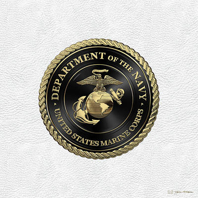 Digital Art - U S M C Emblem Black Edition Over White Leather by Serge Averbukh