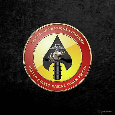 Digital Art - U S M C  Forces Special Operations Command -  M A R S O C  Seal Over Black Velvet by Serge Averbukh