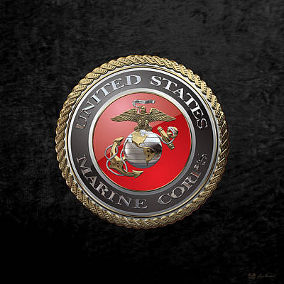 Digital Art - U. S.  Marine Corps  - U S M C  Emblem Over Black Velvet by Serge Averbukh