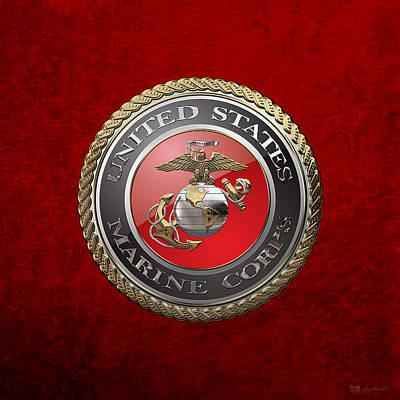 Digital Art - U. S.  Marine Corps  - U S M C  Emblem Over Red Velvet  by Serge Averbukh