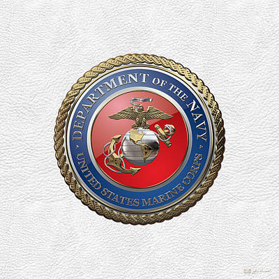 Digital Art - U. S.  Marine Corps  - U S M C  Emblem Over White Leather by Serge Averbukh