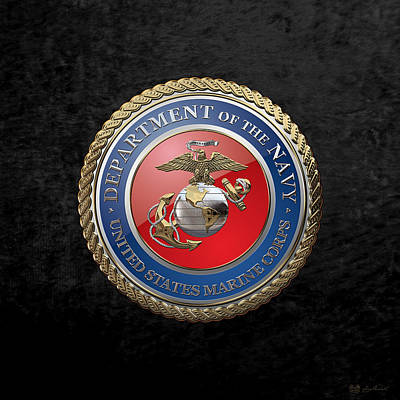 Digital Art - U. S.  Marine Corps  - U S M C  Seal Over Black Velvet by Serge Averbukh