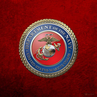 Digital Art - U. S.  Marine Corps  - U S M C  Seal Over Red Velvet by Serge Averbukh