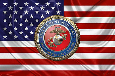 Digital Art - U. S.  Marine Corps - U S M C Seal Over  U. S.  Flag by Serge Averbukh