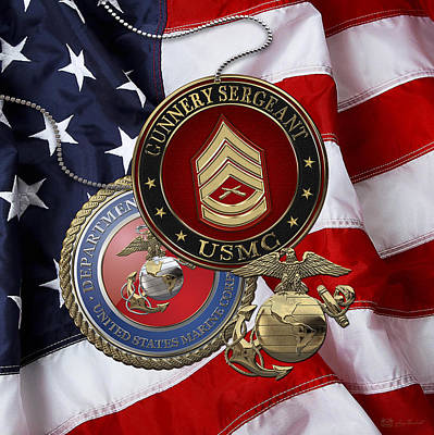 Digital Art - U. S. Marine Gunnery Sergeant Rank Insignia Over American Flag by Serge Averbukh