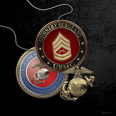 Digital Art - U. S. Marine Gunnery Sergeant Rank Insignia Over Black Velvet by Serge Averbukh