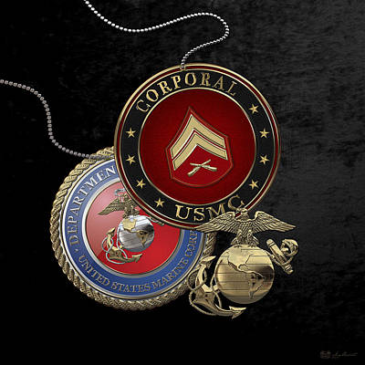 Digital Art - U. S.  Marines Corporal Rank Insignia Over Black Velvet by Serge Averbukh