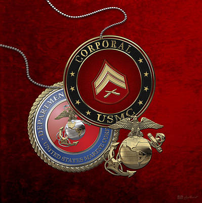 Digital Art - U. S.  Marines Corporal Rank Insignia Over Red Velvet by Serge Averbukh