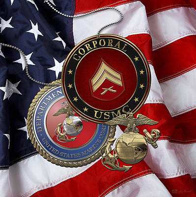 Digital Art - U. S.  Marines Corporal Rank Insignia Over  U. S.  Flag by Serge Averbukh
