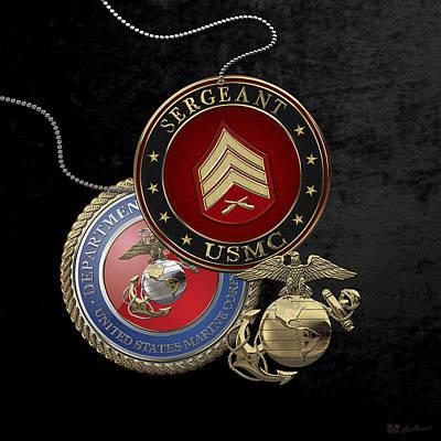 Digital Art - U. S. Marines Sergeant -  U S M C  Sgt Rank Insignia Over Black Velvet by Serge Averbukh