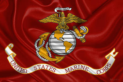 Digital Art - U. S.  Marines - U S M C Corps Flag by Serge Averbukh