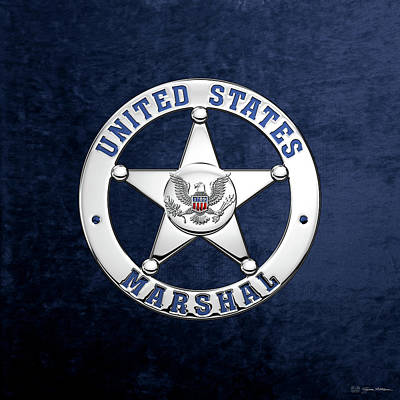 U. S. Marshals Service  -  U S M S  Badge Over Blue Velvet Art Print by Serge Averbukh