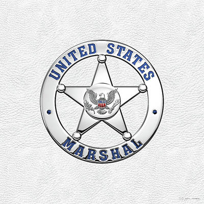Digital Art - U. S. Marshals Service  -  U S M S  Badge Over White Leather by Serge Averbukh