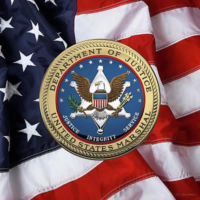 U. S.  Marshals Service -  U S M S  Seal Over American Flag Art Print by Serge Averbukh