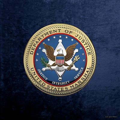 Digital Art - U. S.  Marshals Service -  U S M S  Seal Over Blue Velvet by Serge Averbukh
