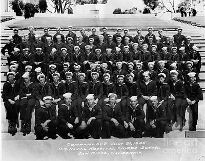 Photograph - U. S. Naval Hospital Corps School San Diego California July 21 1945 by California Views Mr Pat Hathaway Archives